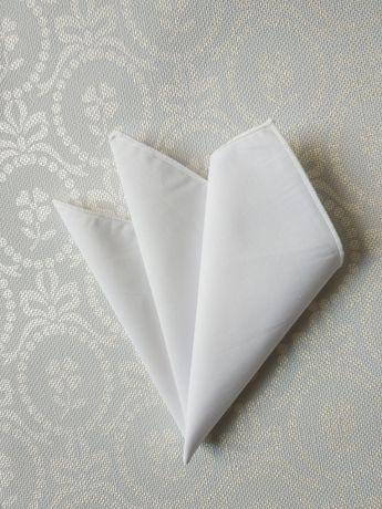 Biała klasyczna poszetka chusteczka do garnituru 25x25cm