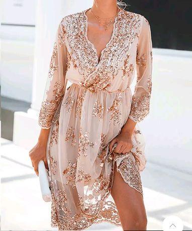 Sukienka midi koronkowa cekinowa koronka z cekinami cekiny rozkloszowa