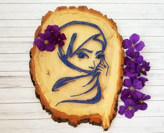 Стринг арт, восточная женщина, картина арабский стиль, декор из дерева