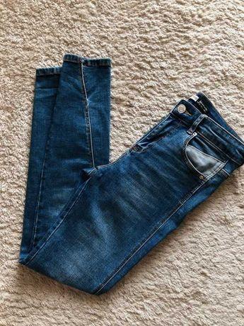 stradivarius granatowe spodnie jeansy denim cropped 34