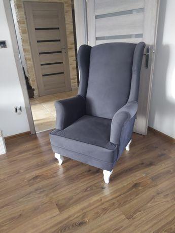 Dwa Fotele uszate styl skandynawski retro