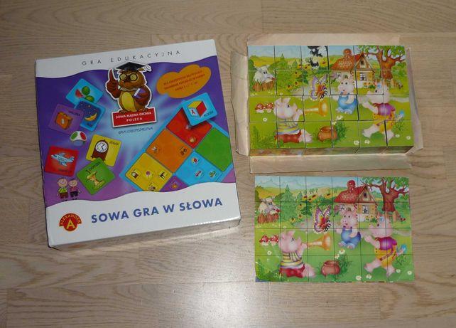Gra edukacyjna Sowa gra w słowa + klocki Adamigo świat bajek