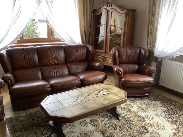 Skórzany zestaw wypoczynek plus dwa fotele