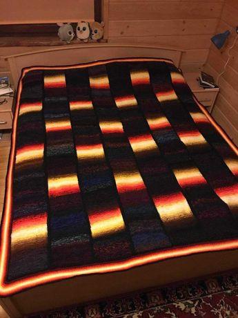 Koc ręcznie robiony 170 x 200 wełna kolorowy hand made prezent