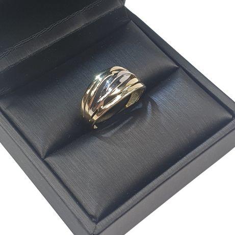 Złoty pierścionek pr. 585 białe i żółte złoto