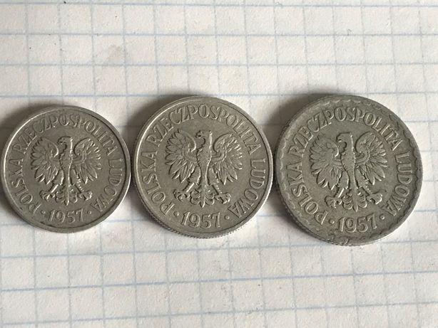 Monety PRL 1957 r 20 gr 50 gr 1 zl