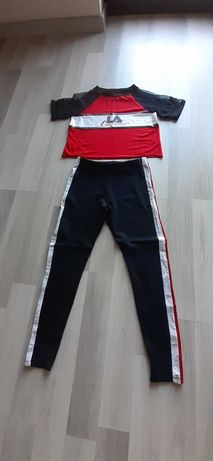 T-shirt top legginsy Pull&Bear fitness jogging siłownia rower