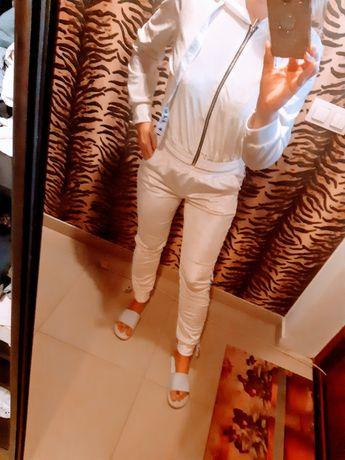 Nowy dres welurowy welur biały s m