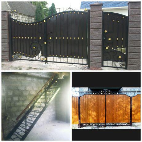 Ворота, перила, лестница, беседка, навес, забор, металлоконструкции
