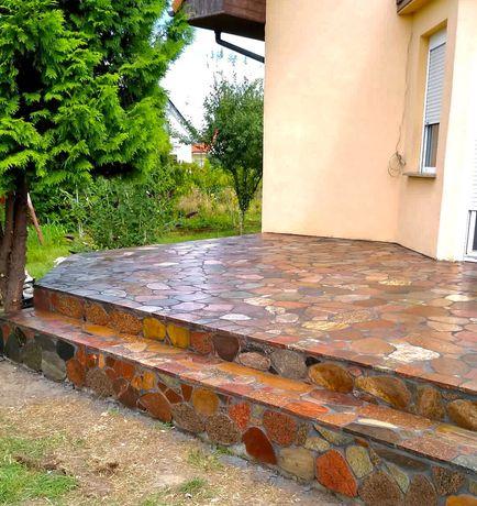 Kamień polny cięty-plastry okładzinowe bordowo-brązowe