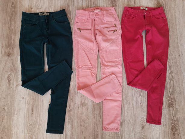 Spodnie jeans kolorowe róż malina zieleń XS S