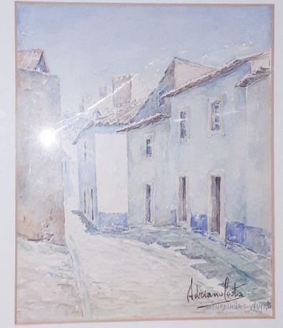 Bela Aguarela -Montemor-o-Velho-Pintor Adriano Costa - Vintage