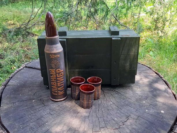 Подарочный набор мужчине военному Главный калибр в деревянном ящике