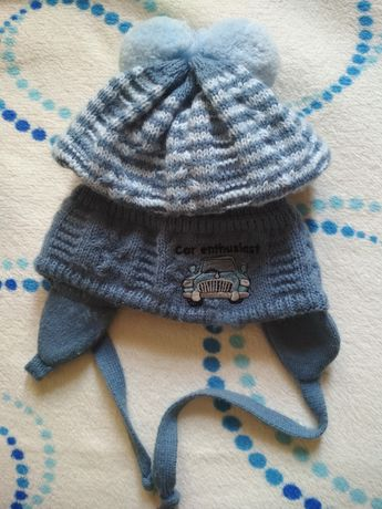 Тепла в'язана зимова шапочка / теплая вязаная зимняя шапка