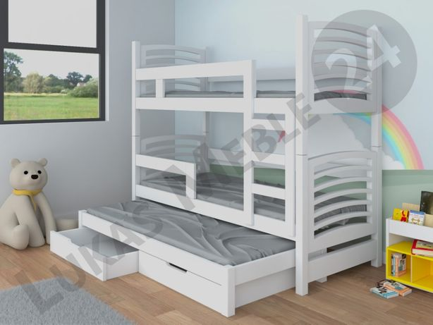 Łóżko piętrowe OLI 3 z wysuwanym spaniem + materace GRATIS
