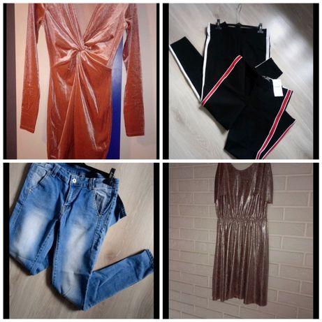Paka ubrań spodnie jeansy sukienka różowa srebrna welur zara H&M moodo