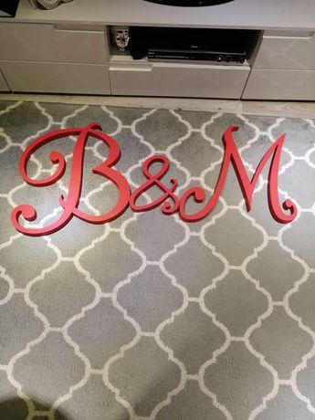 Inicjały ślubne B&M