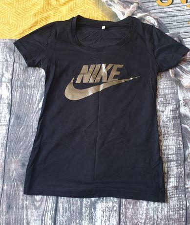 Czarna bluzeczka koszulka nike zloty napis