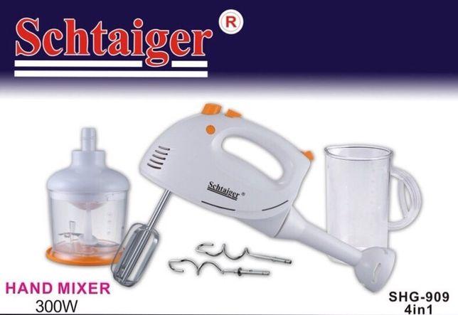 4 в 1 блендер миксер измельчитель венчик Schtaiger 909 Мощный 300 Вт