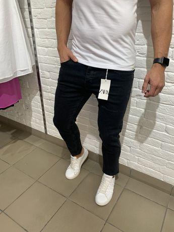 Мужские джинси Zara синие Чоловічі штани штаны темние чорні мальчиков