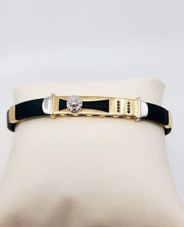 Złota bransoletka na kauczukowej branzolecie próba 585
