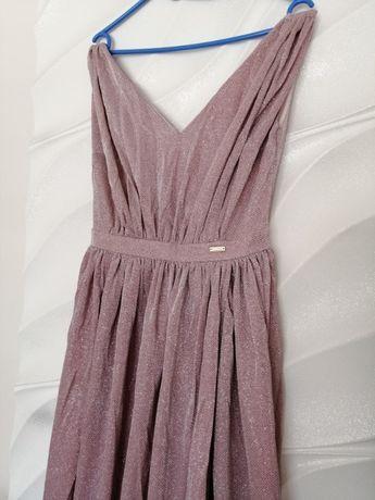 Sukienka maxi 38M długa brokatowa na wesele liliowa