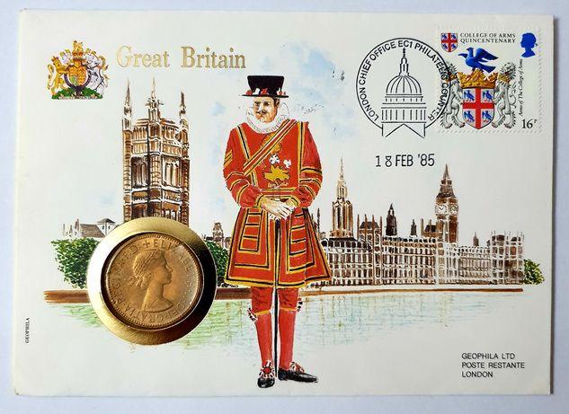Wielka Brytania list numizmatyczny z monetą