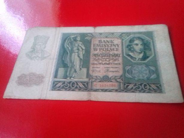 """Banknot """" Pięćdziesiąt Złotych"""" Rok 1940!!!"""