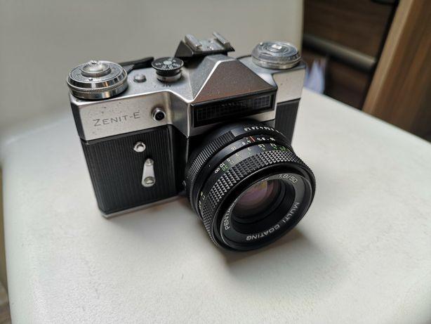 Aparat analogowy zenit-e + obiektyw portretowy 50mm F1.8-16 etui