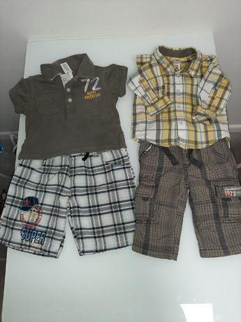 Zestaw ubranek spodenki spodnie koszula polo lato r.62 chłopiec