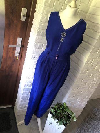 Letni komplet spodnie bluzka ala kombinezon niebieski chabrowy r.M/L