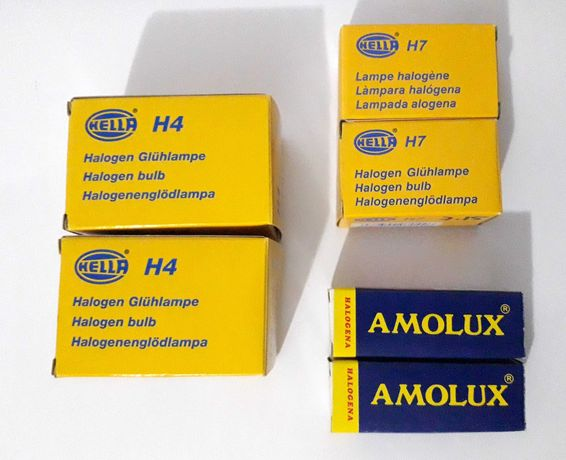Lâmpadas Auto de Halogéneo Hella/Amolux - H4 / H7 / H1 (pack de 6)