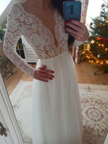 Suknia ślubna Boho rustykalna Laura rozmiar 36 ivory