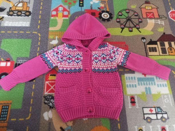 Sweterek z kapturem dla dziewczynki 80
