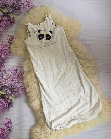Мешок чехол для сна с пандой одеяло на молнии 6-18 мес бархатное белое