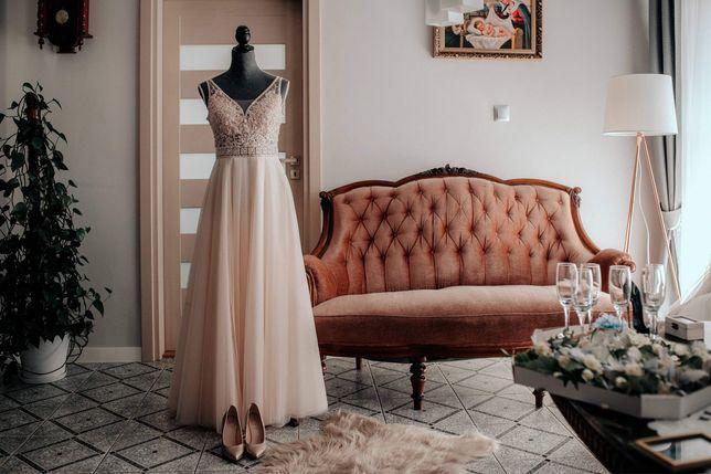 Suknia ślubna rozm.36 + dlugi welon