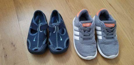Buciki adidas r 24, sandałki Nike r 24