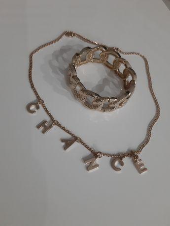 Zara zestaw biżuterii naszyjnik bransoletka złoty metal