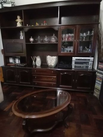 Movel de sala + mesa de sala com tampo de vidro
