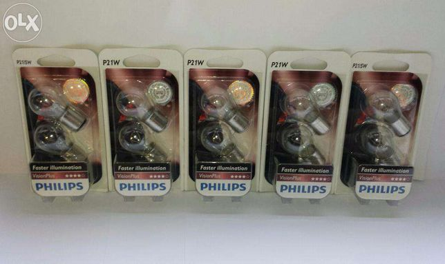 Lâmpadas Philips vision plus +50% P21W(6 lamp.)+P21/5W(4lamp) Lâmpada