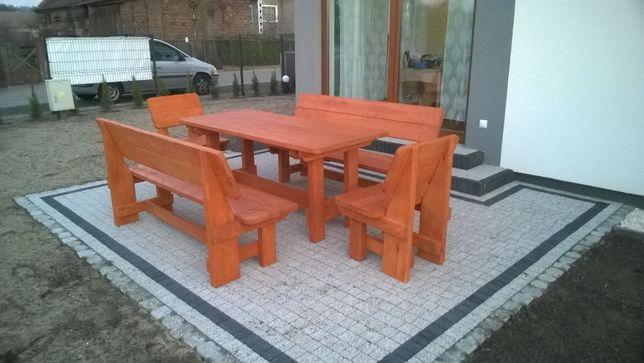Meble ogrodowe komplet ławki krzesła stół z litego drewna 180 cm !