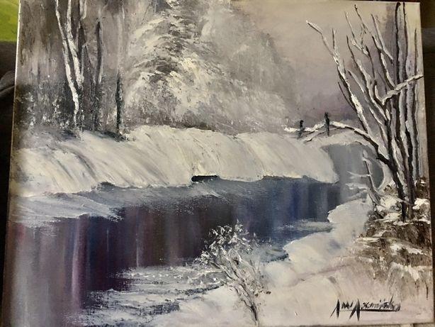 Obraz olejny na plotnie snieg zima