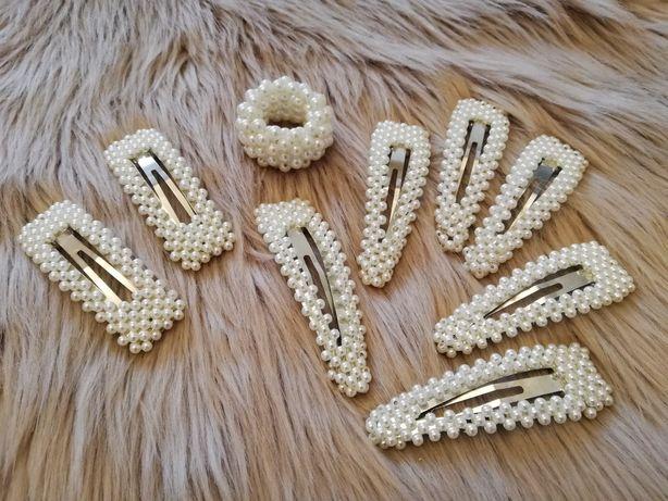Kpl gumka plus 8 szt spinki do włosów nowe perły Glamour