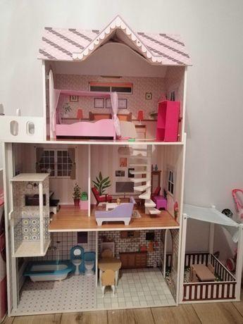 Duży domek drewniany dla lalek z tarasem
