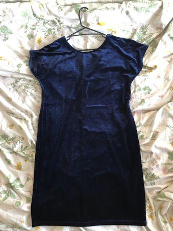 Granatowa welurowa sukienka reserved