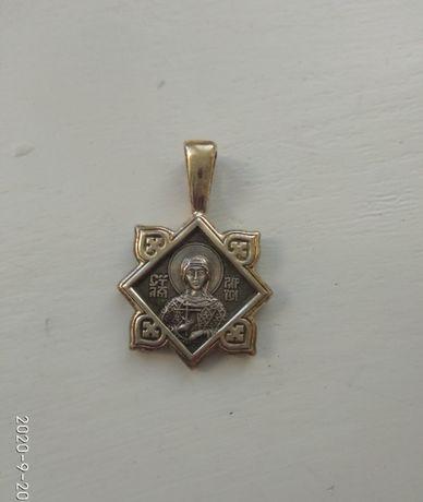 Кулончик Святой Ларисы, серебро-позолота