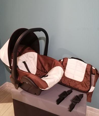 Fotelik / Nosidełko samochodowe 0-11kg + adaptery do wózka + torba