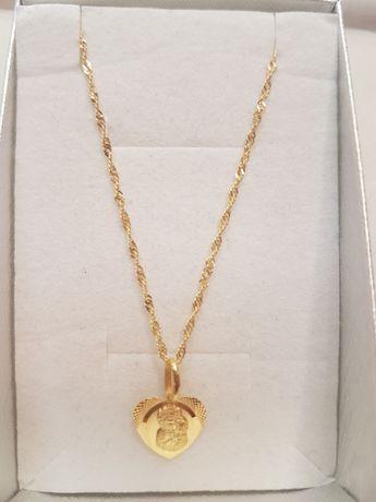 Piękny łańcuszek kordel 45cm + zawieszka serce 45cm,pr.333.Hit !!