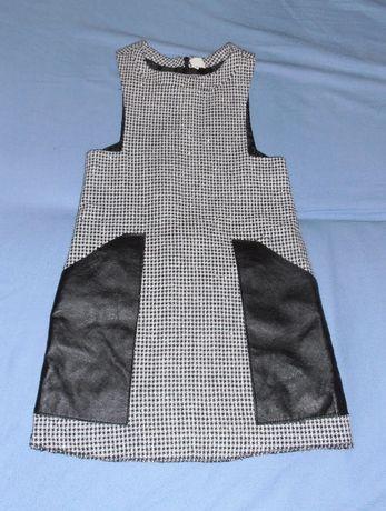 Sukienka dla dziewczynki, w pepitkę Arkadian, 134, skórzane wstawki