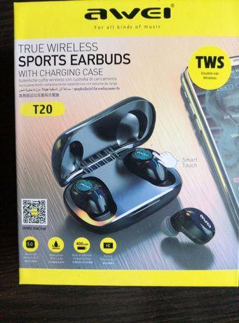 беспроводные наушники AWEI TWS T20 с bluetooth-гарнитурой